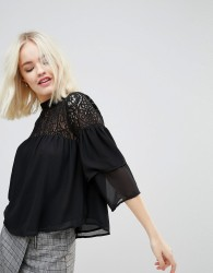 Hazel Long Sleeved Lace Yolk Blouse - Black