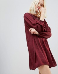 Hazel Long Sleeved Lace Yolk Shift Dress - Red