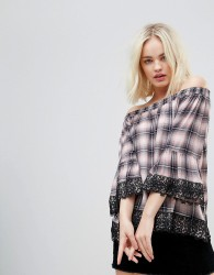 Hazel Off Shoulder Checked Blouse with Lace Trim - Pink