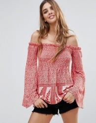 Hazel Off Shoulder Floral Printed Blouse - Pink