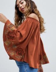 Hazel Off Shoulder Lace Cuff Blouse - Red