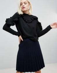Hazel Ribbed Knit High Neck Jumper - Black