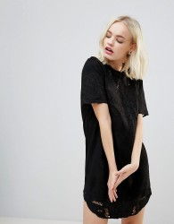 Hazel Suedette Lazercut Mini Dress - Black