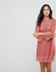 Hazel Teracotta Lace Shift Dress - Pink