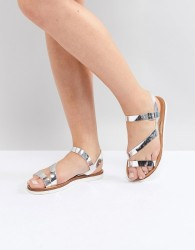 Head Over Heels by Dune Metallic Silver Flat Sandals - Silver