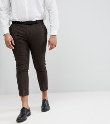 Heart & Dagger Plus Size Woven In England plus Skinny Cropped Trouser In Herringbone - Brown