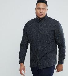Heart & Dagger PLUS Skinny Spot Print Shirt - Black