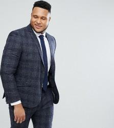 Heart & Dagger PLUS Skinny Suit Jacket In Fleck Grid - Grey