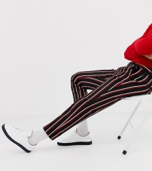 Heart & Dagger skinny cropped smart trouser in navy and red stripe - Navy