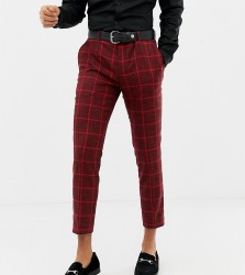 Heart & Dagger skinny cropped smart trousers in red check - Red