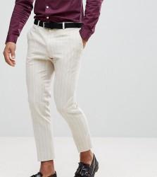 Heart & Dagger Skinny Cropped Trouser In Linen Stripe - Cream