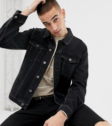Heart & Dagger skinny denim jacket in washed black - Black