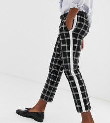 Heart & Dagger skinny fit cropped trouser with stripe - Black