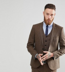 Heart & Dagger Skinny Suit Jacket In Donegal - Brown