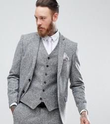 Heart & Dagger Skinny Suit Jacket In Herringbone Tweed - Grey