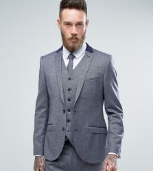 Heart & Dagger Skinny Suit Jacket In Tweed - Blue