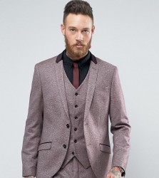Heart & Dagger Skinny Suit Jacket In Tweed With Velvet Trim - Red