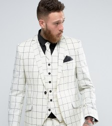 Heart & Dagger Skinny Suit Jacket In Wool Check - White