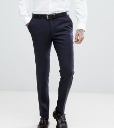 Heart & Dagger Skinny Suit Trousers In Wool Mix Check - Navy