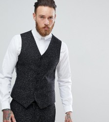 Heart & Dagger Skinny Waistcoat In Herringbone Fleck Tweed - Grey