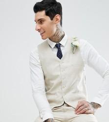 Heart & Dagger Skinny Waistcoat In Linen - Beige