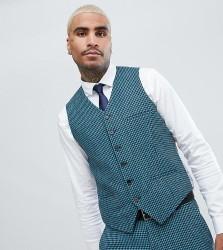 Heart & Dagger skinny wedding waistcoat in summer dogstooth - Blue