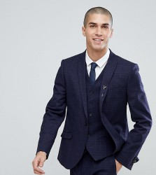 Heart & Dagger Slim Stretch Suit Jacket In Tweed Check - Navy