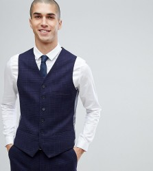 Heart & Dagger Slim Stretch Waistcoat In Tweed Check - Navy