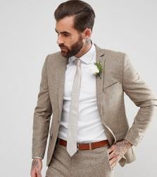 Heart & Dagger Slim Suit Jacket In Fleck - Stone