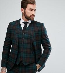 Heart & Dagger Slim Suit Jacket In Tartan - Green