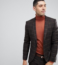 Heart & Dagger Suit Jacket In Grid Check - Brown