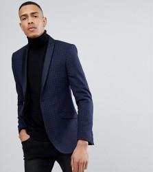 Heart & Dagger TALL Skinny Printed Wool Mix Tux Blazer - Navy