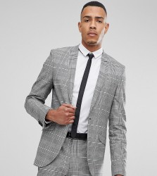 Heart & Dagger TALL Skinny Suit Jacket In POW Check - Grey