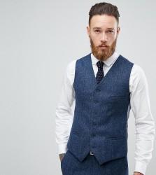 Heart & Dagger Woven In England Slim Stretch Waistcoat In Herringbone Tweed - Navy