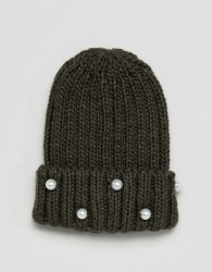Helene Berman Beanie with Pearl Embellishments - Green