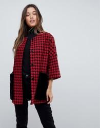 Helene Berman Faux Fur Dogtooth Pockets Kimono Coat - Red