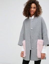 Helene Berman Wool Blend Kimono Coat with Faux Fur Pockets - Grey