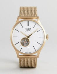 Henry London Automatic Mesh Watch In Gold - Gold