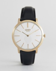 Henry London Leather Watch In Black - Black