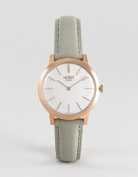 Henry London Leather Watch In Grey 34mm - Grey