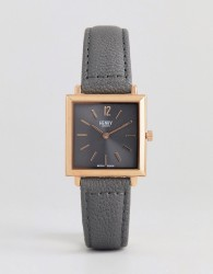 Henry London Square Leather Watch In Grey 26mm - Pink