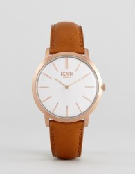 Henry London Tan Leather Watch With Gold Dial - Tan