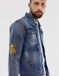 Hermano denim jacket with embroidery - Blue