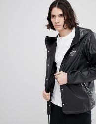 Herschel Supply Co Forecast Hooded Jacket Rubberised Showerproof in Black - Black
