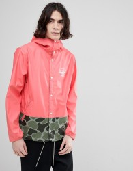 Herschel Supply Co Forecast Hooded Jacket Rubberised Showerproof in Pink with Camo Print Detail - Pink