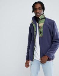 Herschel Supply Co Full Zip Fleece Sweat Camo Collar in Navy - Navy