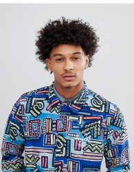 Herschel Supply Co Hoffman Collab Packable Coach Jacket with Back Print in Blue Abstract Print - Blue