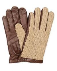 Hestra Adam Crochet Wool Lined Glove Chestnut/Beige men 7,5 Brun