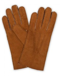 Hestra Lambskin Suede Handsewn Glove Congac men 9,5 Brun