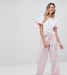 Hey Peachy It Was All A Dream Ruffle Long Pyjamas - Pink
